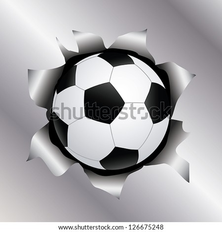 illustration of a soccer ball bursting trough a metal sheet effects.