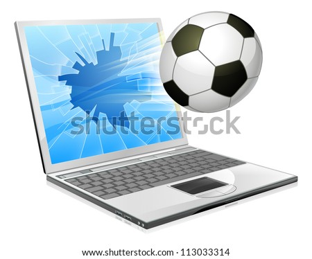 Illustration of a soccer ball or football flying out of a broken laptop computer screen