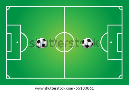 Illustration of a soccer field with ball