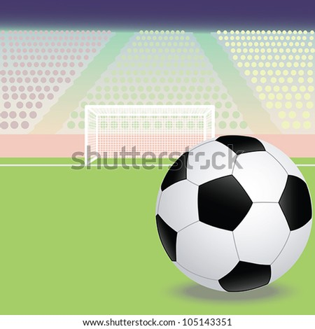 illustration of a soccer, football field with soccer ball in the foreground.