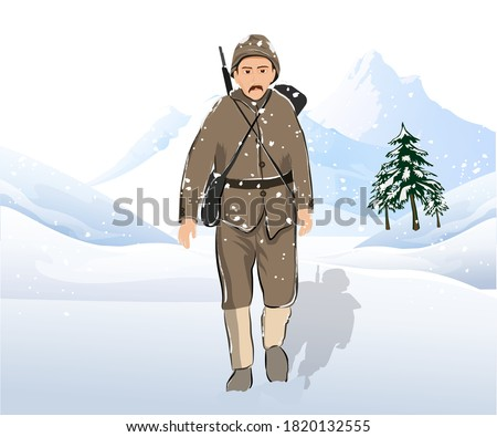 Illustration of a soldier walking on a snowy terrain, with mountains and trees in the background. Stok fotoğraf ©