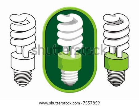 Illustration of a spiral compact fluorescent light bulb