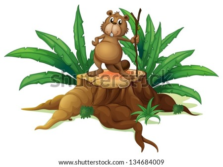 Illustration of a squirrel above a trunk on a white background