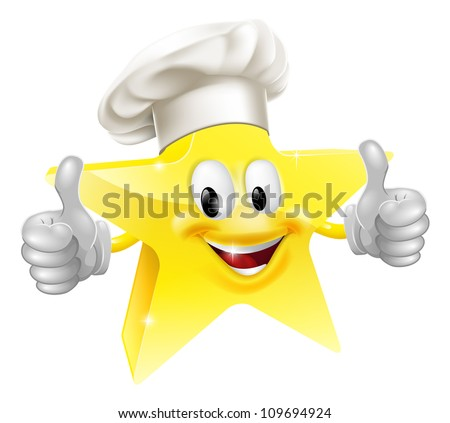 Illustration of a star mascot in a chef or baker's hat, concept for best chef or similar