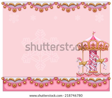 Illustration of a stationery template with a merry go for Merry go round horse template