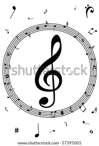 Illustration of a stave with music notes on white background - stock vector