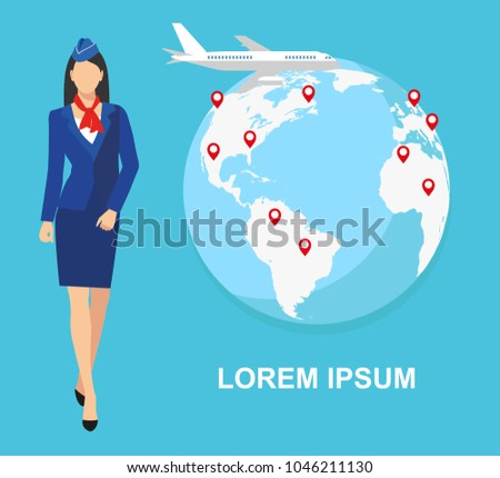 illustration of a stewardess in