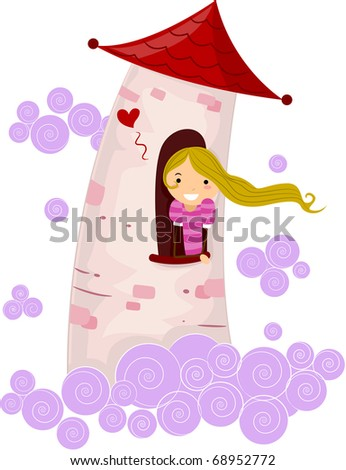 Illustration of a Stick Figure Princess Stuck in a Tower