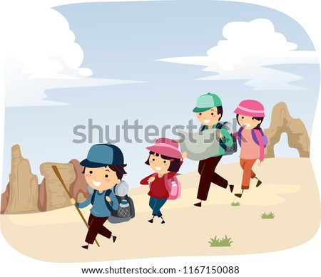 Illustration of a Stickman Family Exploring the Desert Park