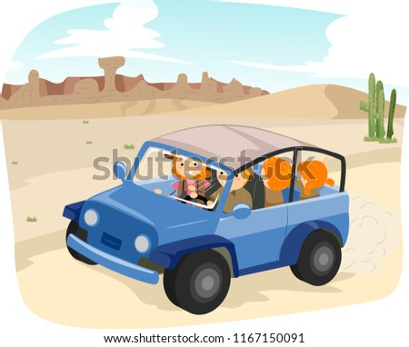 Illustration of a Stickman Family Riding and Exploring the Desert
