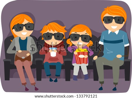 Illustration of a Stickman Family Watching a 3D or 4D Movie