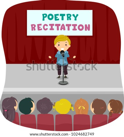 Shutterstock Illustration of a Stickman Kid Reciting Poetry on Stage with an Audience Full of Kids in His Class