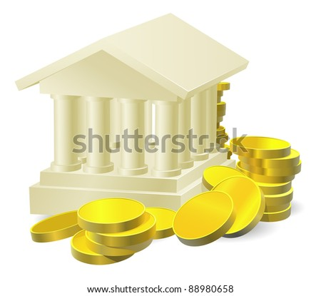 Illustration of a stylised bank building surrounded by large gold coins