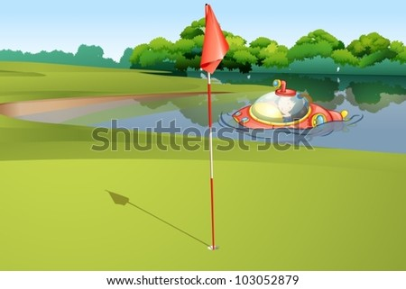 Illustration of  a submarine appearing at a golf course