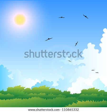 Illustration of a summer meadow with birds in the sky. Vector format EPS10, contains elements of transparency.