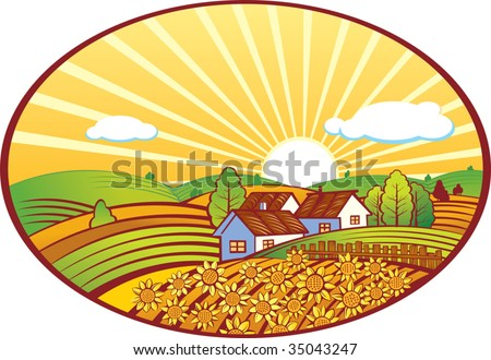 illustration of a summer rural