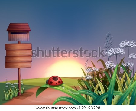 Illustration of a sunrise view with the wooden signboard