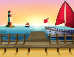 Illustration of a sunset at the port