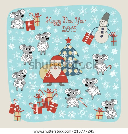 Illustration Of A Symbol Of 2015 Sheep Santa Claus Snowman And