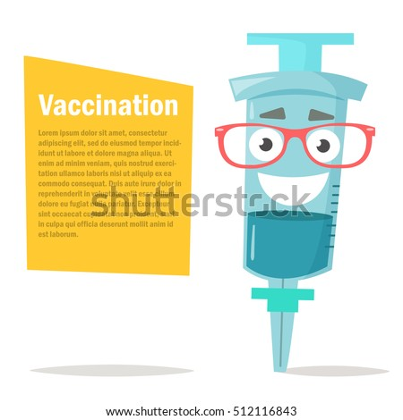 Illustration of a syringe. Glasses, character. Vaccination. Vector. Cartoon character. Isolated. Flat.