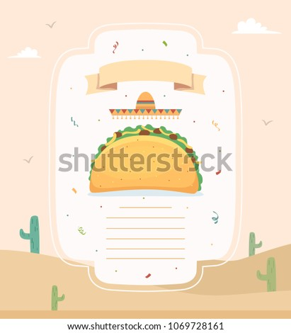 Illustration of a Taco with Mexican Hat, Ribbon and Space for Text Against a Desert Background with Sand and Cactus