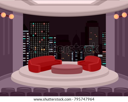Illustration of a Talk Show Setup in a Studio with Red Sofa and Table for Host and Guest on Stage