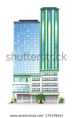 Illustration of a tall commercial building on a white background