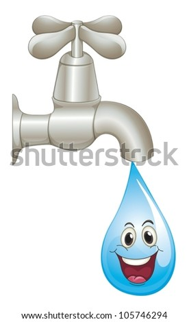 illustration of a tap and water on a white background
