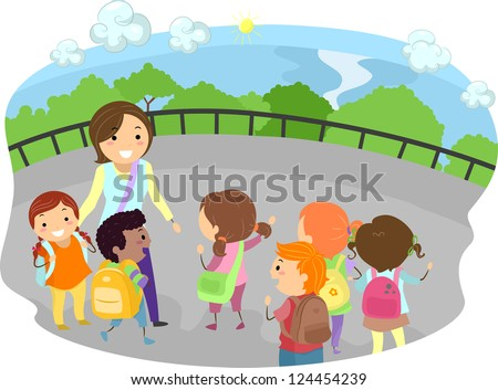 Illustration of a Teacher and Kids Out on a Field Trip