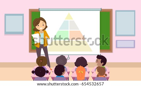 Illustration of a Teaching Talking about the Food Pyramid in Class with the Kids