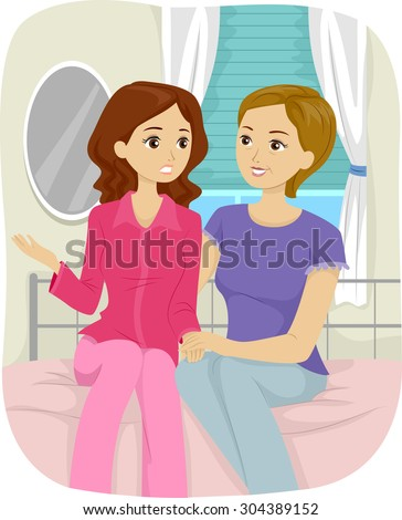 Illustration Of A Teenage Girl Having A Talk With Her ...