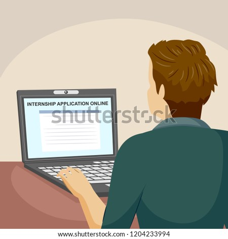 Illustration of a Teenage Guy Applying for Internship in a Company Online