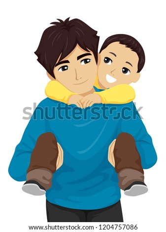 Illustration of a Teenage Guy Carrying His Little Brother on His Back