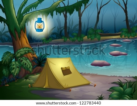 illustration of a tent in dark
