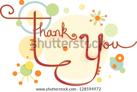Illustration of a Thank You Card with Circular Designs