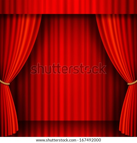 Illustration of a Theater stage with Red Velvet Curtains