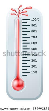 Illustration of a thermometer with the red alcohol bursting through the top.
