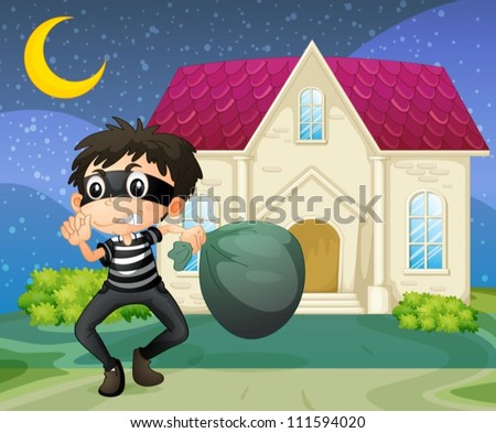 illustration of a thief running in night