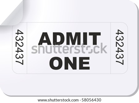 illustration of a ticket with the text admit one