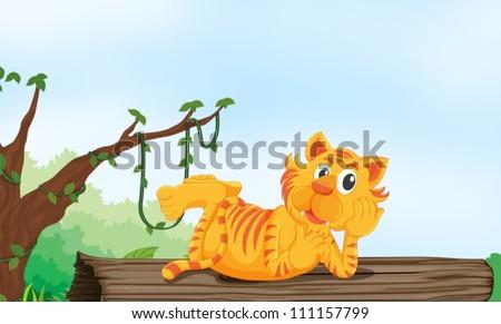 illustration of a tiger resting