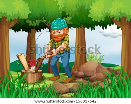 illustration of a tired woodman