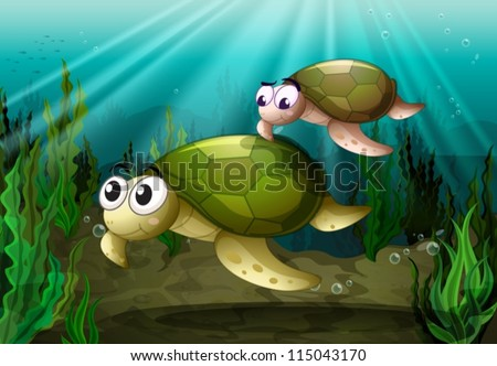 illustration of a tortoise under sea water
