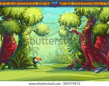 illustration of a toucan jungle
