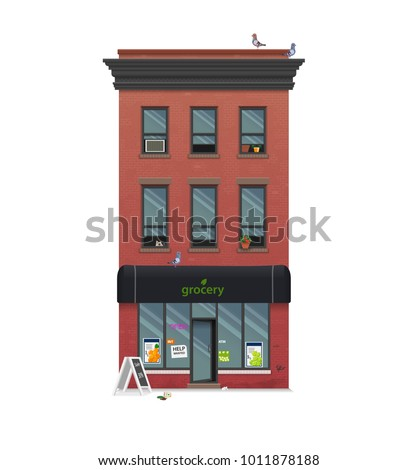 Illustration of a townhouse. Flat art style. Housing, real estate market, architecture design, property investment concept banner. Isolated on white. New York brick building