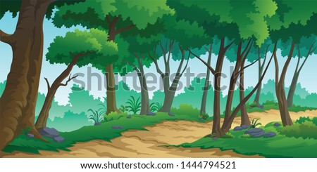 illustration of a tree and graphic of jungle.