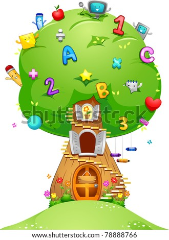 Illustration of a Tree Loaded with School Related Items
