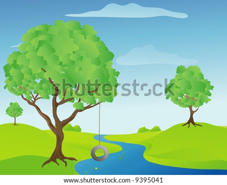 Illustration of a tree swing by a stream on a warm sunny spring day
