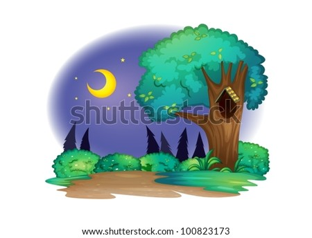 Illustration of a tree with hollow at night