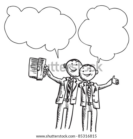 Illustration of a two  happy businessman speaking something