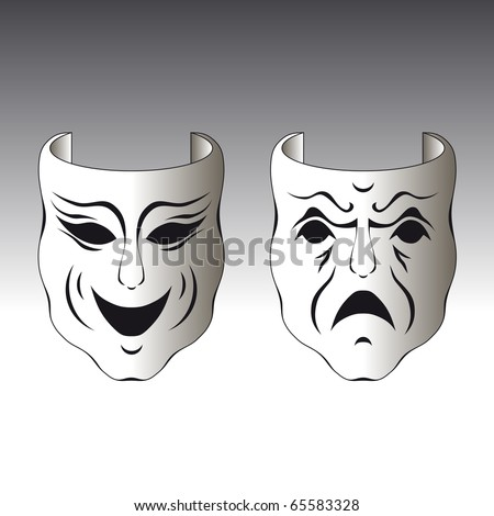 Illustration of a typical male and female carnival mask